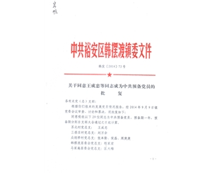 党员批复文件